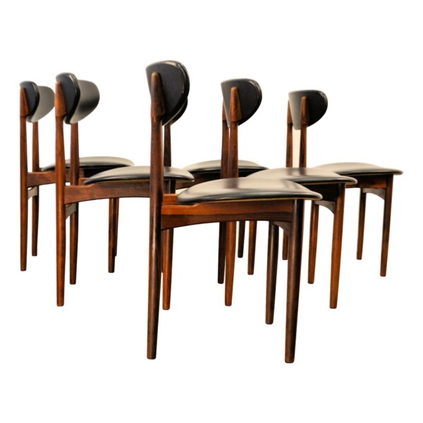Vintage Danish Rosewood Dining Chairs - side