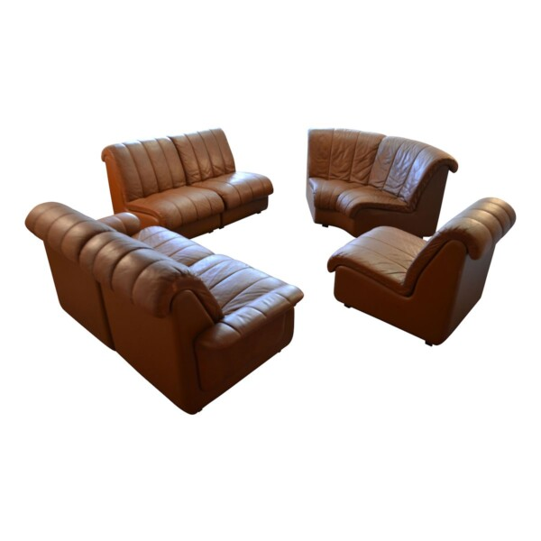 Vintage Leather Corner Sofa by Skipper